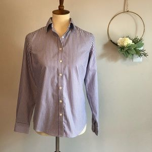 Land's End- no iron purple striped oxford